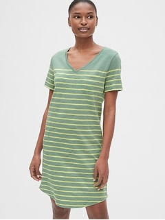 dfa9b307c1b Stripe Relaxed V-Neck Pocket T-Shirt Dress