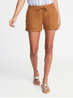 debeca0f74de Mid-Rise Linen-Blend Shorts for Women - 4-inch inseam