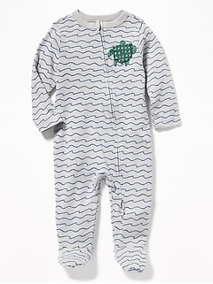 c71ca2a80ab Wave-Print Turtle-Graphic Footed One-Piece for Baby
