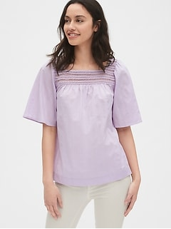 3b33192a18 Eyelet Embroidered Square-Neck Blouse in Dobby Stripe
