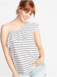 39d625056a Ruffled Linen-Blend One-Shoulder Top for Women