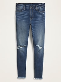 High-Waisted Raw-Edge Rockstar Super Skinny Ankle Jeans For Women