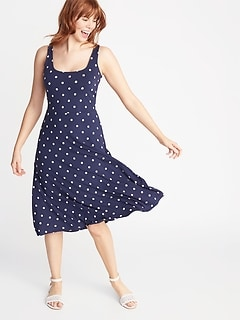 a94e0e1cdd994 Sleeveless Fit & Flare Jersey Midi Dress for Women