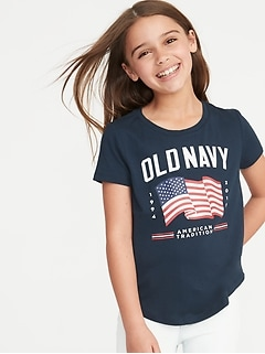 bc5d0612ff1 2019 Flag Graphic Tee for Girls