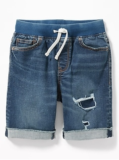 5de70fb965f5 Rib-Knit Waist Built-In Flex Max Karate Denim Shorts for Boys