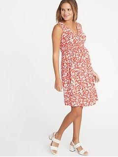 f2129638ec5ee Maternity Waist-Defined Cross-Front Jersey Dress