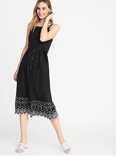 2647340fa1a5 Square-Neck Button-Front Midi Dress for Women