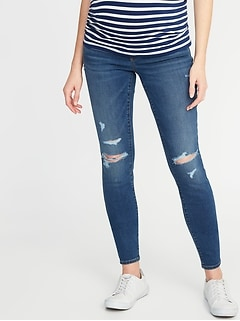 e6cd6b31c7703 Maternity Front-Low Panel Distressed Skinny Jeans