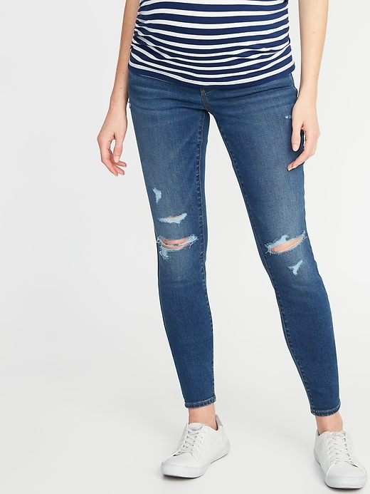 Maternity Front-Low Panel Distressed Skinny Jeans