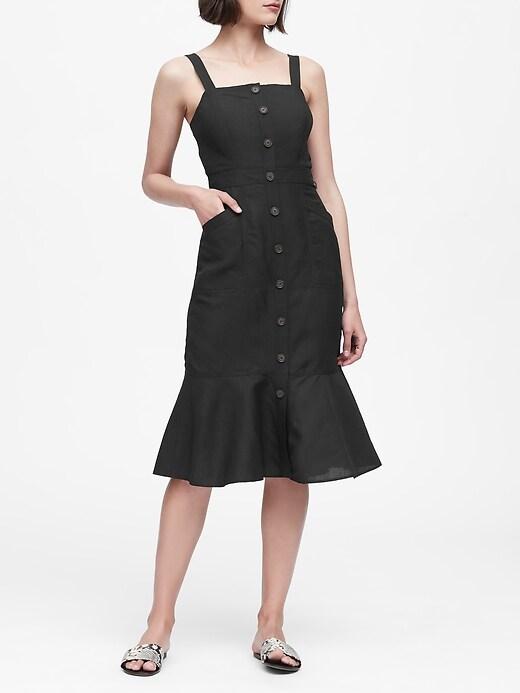 Linen-Blend Button-Front Dress