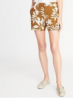 de88d20de7 Mid-Rise Printed Linen-Blend Everyday Shorts for Women - 5-inch inseam