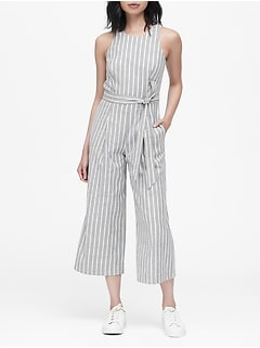 c9e1adc08b0 Linen-Cotton Cropped Jumpsuit