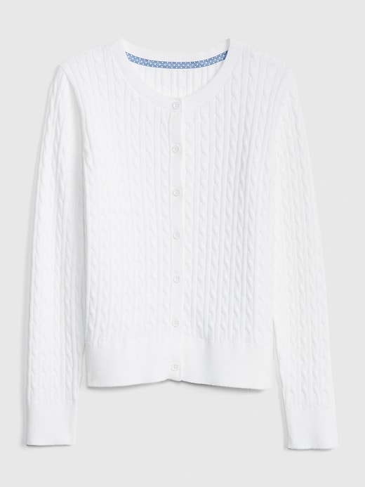 Kids Uniform Cable-Knit Cardigan Sweater