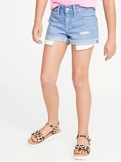 2c61db2f49ca Exposed-Pocket Distressed Denim Shorts for Girls