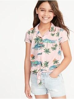 7cd17acfa Patterned Tie-Hem Getaway Shirt for Girls