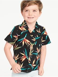 7a89a2105 Bird-of-Paradise Print Built-In Flex Getaway Shirt for Toddler Boys