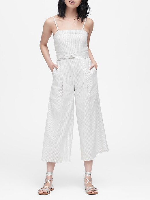 Petite Stripe Linen-Cotton Cropped Jumpsuit