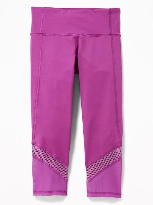 Mid-Rise Go-Dry Mesh-Trim Cropped Leggings for Girls