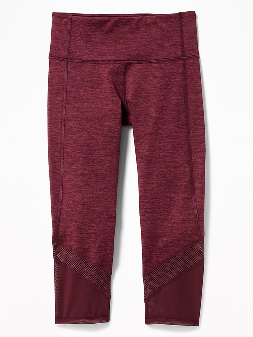 Mid-Rise Go-Dry Mesh-Trim Cropped Leggings for Girls