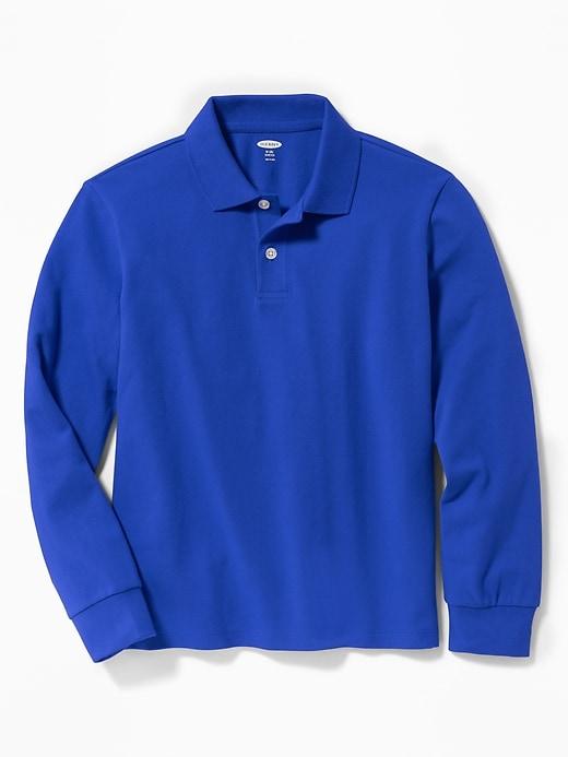 Uniform Built-In Flex Long-Sleeve Pique Polo for Boys