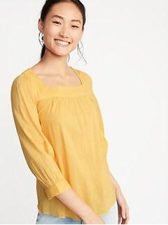 de810911d71ee4 Square-Neck Slub-Weave Blouse for Women