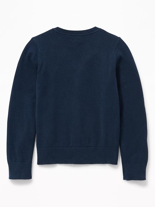 Uniform V-Neck Button-Front Cardigan for Girls