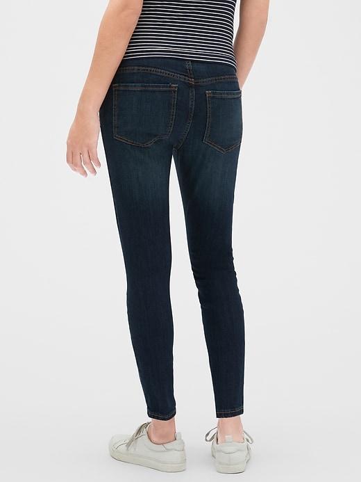 Maternity Destructed Demi Panel Legging Skimmer Jeans