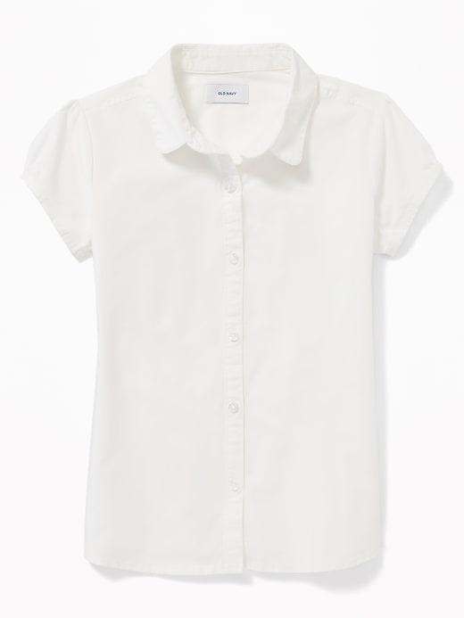 Uniform Short-Sleeve Poplin Shirt for Girls