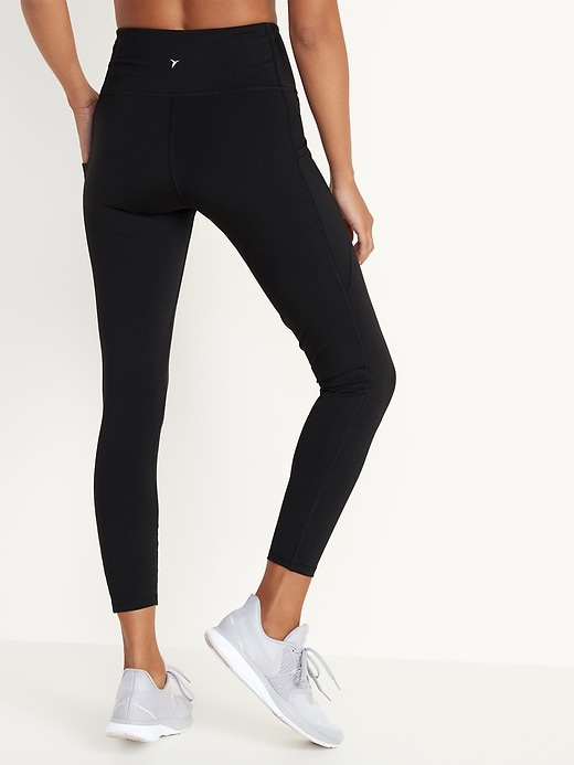 High-Waisted Elevate Side-Pocket 7/8-Length Compression Leggings For Women