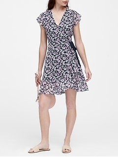 be1b7229696 Floral Ruffle Wrap Dress