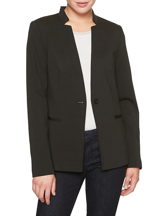 Petite Washable Ponte Inverted Collar Blazer
