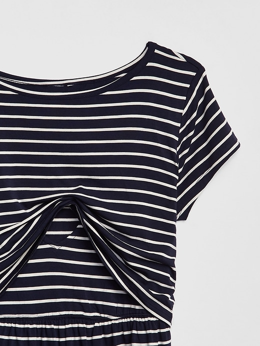 Maternity Stripe Layered Nursing T-Shirt Dress