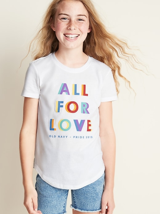 """2019 Pride """"All For Love"""" Tee For Girls"""