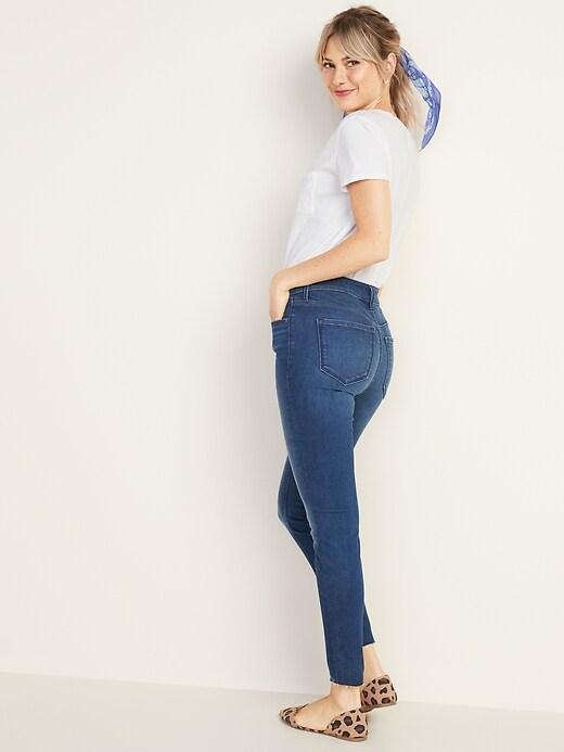 High-Waisted Rockstar Built-In Sculpt Raw-Edge Jeans For Women