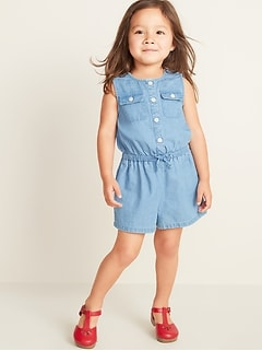 e812f05d6d0e Sleeveless Chambray Utility Romper for Toddler Girls
