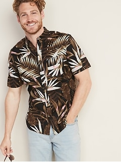 d05439008e74a7 Slim-Fit Built-In Flex Printed Everyday Shirt for Men