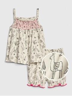 bfe8b9ca1690 Baby Print Pom Outfit Set