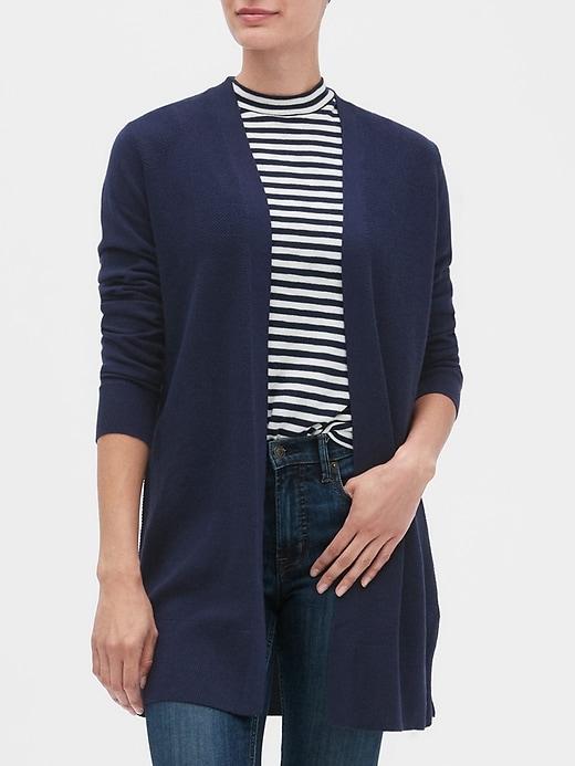 Longline Open-Front Cardigan Sweater