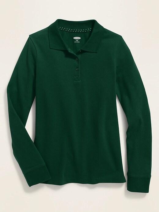 Uniform Long-Sleeve Pique Polo for Girls