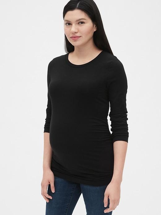 Maternity Pure Body Long Sleeve Crewneck T-Shirt