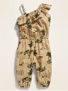 0d1143a62ee3 Printed One-Shoulder Linen-Blend Jumpsuit for Baby