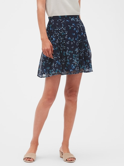 Crinkle Chiffon Pleated Fit and Flare Skirt