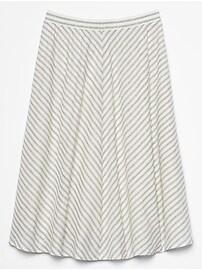 Stripe Pull On Linen Blend Midi Skirt