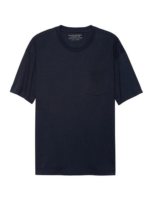 T-shirt ras du cou coupe carrée en coton SupimaMD, EXCLUSIVITÉ EN LIGNE JAPON
