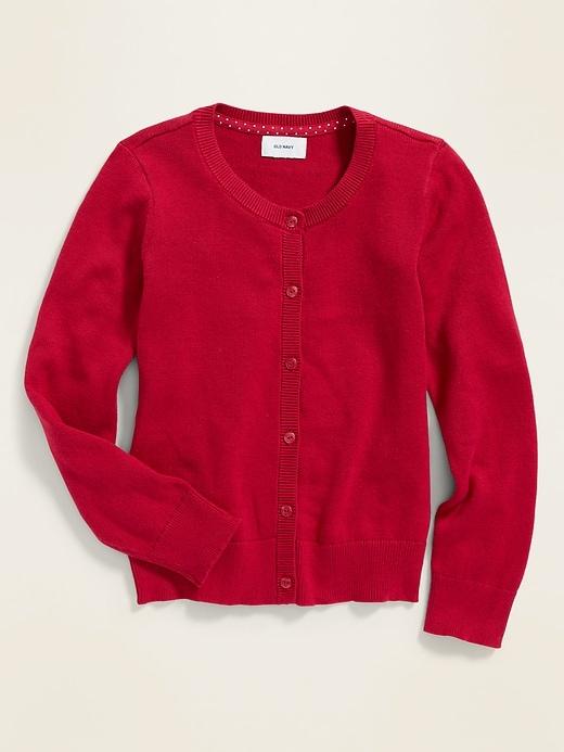 Uniform Crew-Neck Button-Front Cardigan for Girls