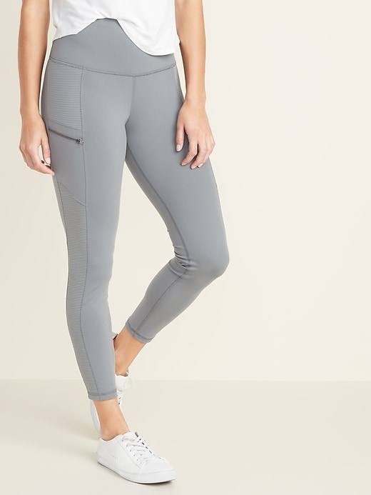 High-Waisted Zip Pocket 7/8-Length Street Leggings For Women