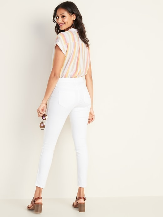 Mid-Rise Pop Icon Skinny White Jeans for Women