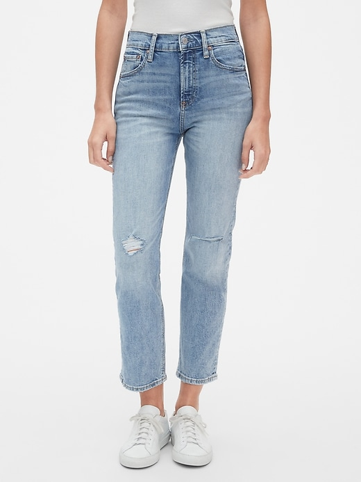 High Rise Cheeky Straight Jeans with Distressed Detail