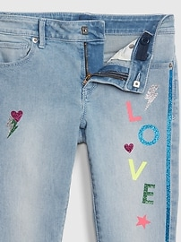 Kids Glitter Graphic Skinny Jeans with Stretch