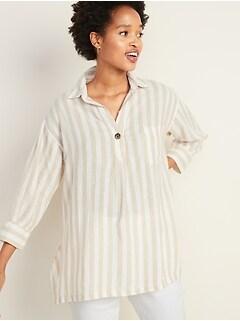 e7333f9116c Linen-Blend Popover Resort Tunic for Women